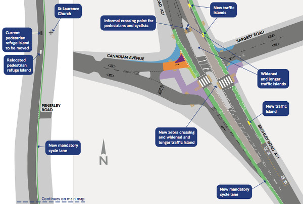 Cycle and pedestrian improvements in Lewisham. Pic: TfL