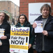 Picket line at Queen Mary University. Pic: Yuan