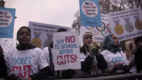 Tower Hamlets youths protest cuts to sports funding. Pic: Ian Gray