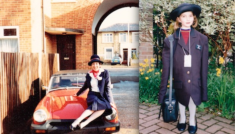 A young Emily dresses up in her mum's airline uniform. Pic courtesy of Emily Bowers-Clark