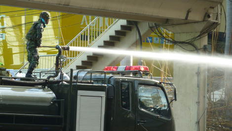 Water cannons have been used around the world, including Belfast, as a riot preventative. Pic: jayarc