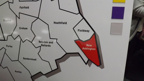 Croydon Map. New Addington goes Red. Photo Sheila Smith