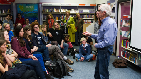 Ken Loach gave a speech on New Cross+Deptford Free Film Festival about his documentary Spirit of '45. Photo by Malcolm JJ Fernandes
