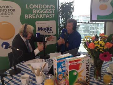 Neil Fox interviews Boris Johnson. Pic: Oluwatosin Oyeniyi