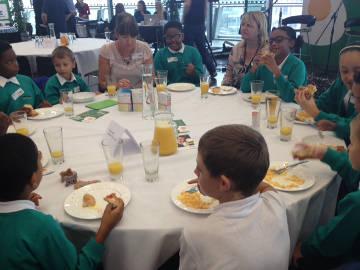School pupils eat breakfast. Pic: Oluwatosin Oyeniyi