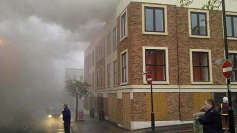 Fire crews on South Norwood High Street. Pic: Chris Halkswell, London Ambulance Service.