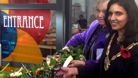 Croydon Mayor cutting SrtEatery edible ribbon. Pic: Jazmin Kopotsha