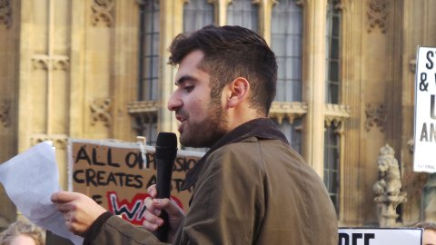 A speaker addressing the students at the 'Free Education' demo. Pic: Alice Harrold