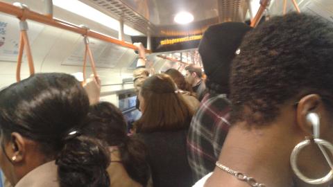 "Passengers ""like sardines in can"" on the Overground. Pic: Anna Shlyakhtenko."