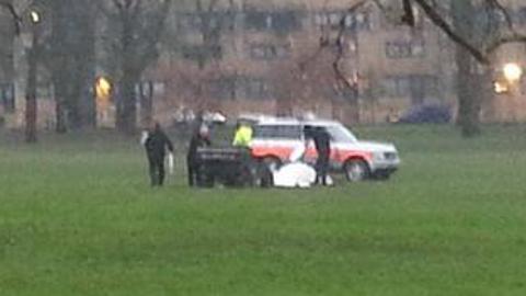 Police detonate the bomb in Clissold Park. Pic: Sgt Dan Window