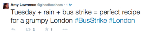 Londoners tweet their reaction to the bus strike, tweeted by @gincoffeeshoes