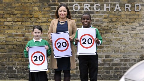 Councillor Feryal Demirci with Hackney youths. Pic: Hackney Council.