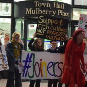 Protesters outside Tower Hamlets Town Hall Pic: Toby Roddham