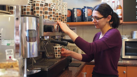 Elisandra Zanfra making coffee in Cafe Basmaccino. Pic: Anna Mellin
