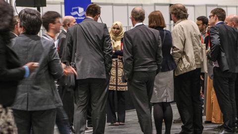 Rabina Khan waits for the preliminary results of the  mayoral election. Pic: Kara Fox