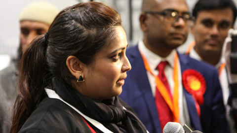 Sabina Akhtar speaks to members of the media after her win. Pic: Kara Fox