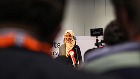 Independent candidate Rabina Khan during concession speech. Pic: Kara Fox