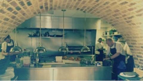 James Ferguson at work in Beagle's kitchen