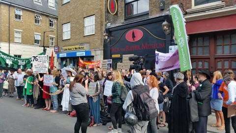 Hundreds protest against the Ripper museum Pic: Harriet Salisbury