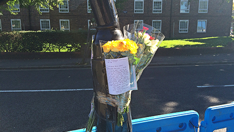Pic: Flowers left at the seen of teen's death in Brockley. Credit: Sebastian Kettley