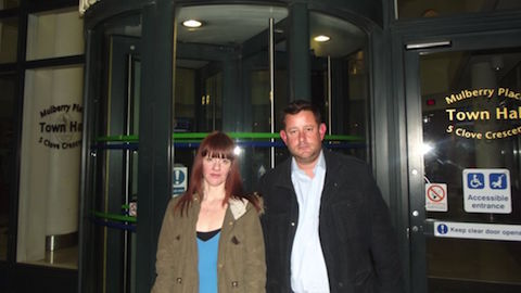 Pic: Andrew Ager and Catherine O'Mahony outside Town Hall last night Credit: Lauren Felstead