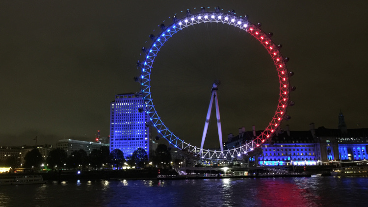 The London Eye lit in red, white and blue to show solidarity with France following the tragedy Pic: Allison Shultes