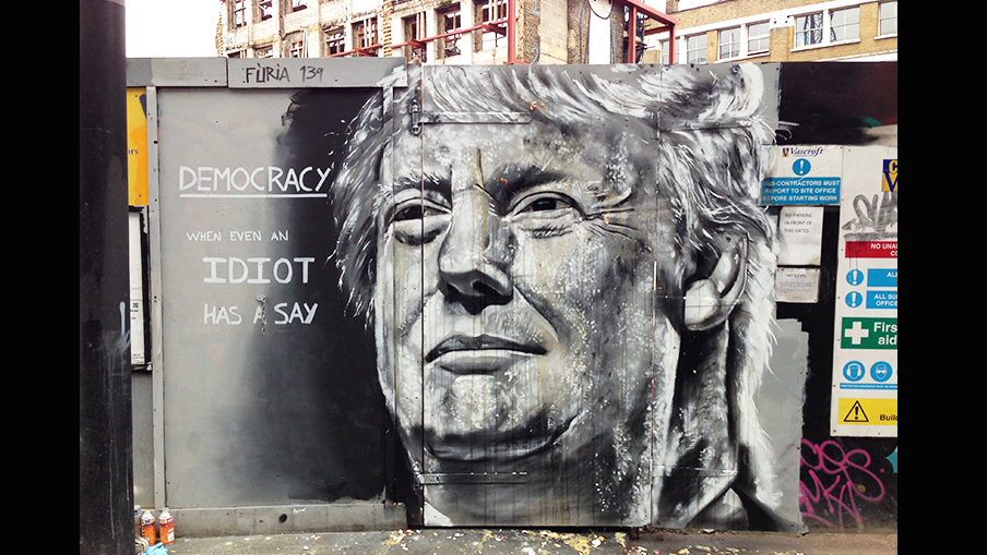 Trump mural trumped by egg throwers. Pic: Furia ACK
