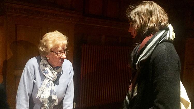 Eva Schloss talking to guests at Croydon Town Hall. Pic: Alex Jackson