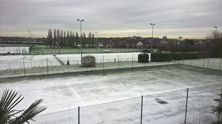 A light dusting of snow at the Kings College London sports ground in Brockley Pic: Tom Bateman