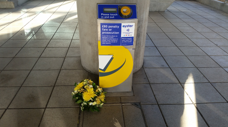 A memorial was held at South Quay station. Pic: Simisola Jasmine Jolaoso