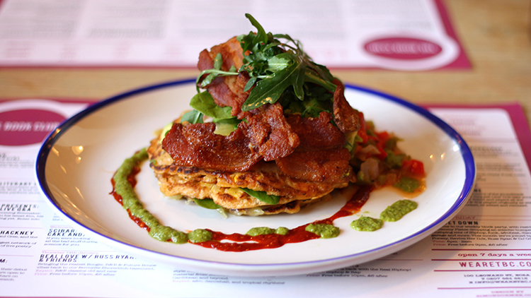 Mexican Sweetcorn Pancakes with chilli sauce, bacon & avocado. Pic: The Book Club