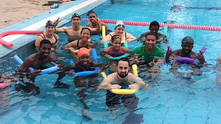 SwimLondon2016 swimming lessons kicked off to enable 225 new swimmers. Pic: Bernadette Borja.