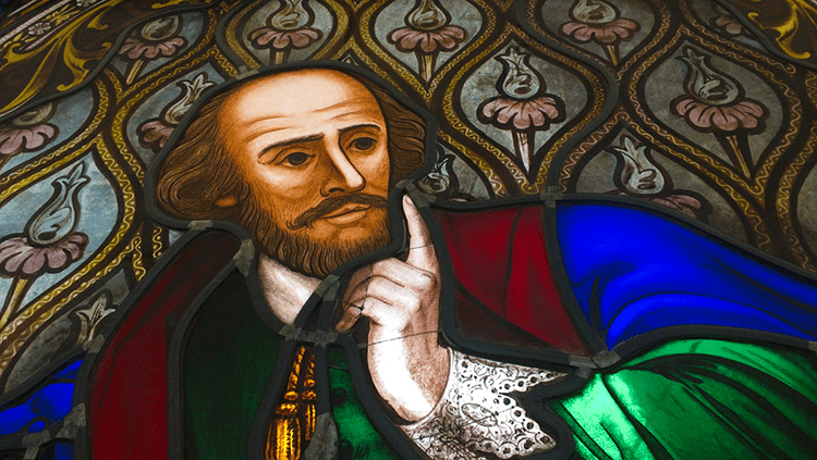A pensive Shakespeare in stain glass. Pic: Salman Javed