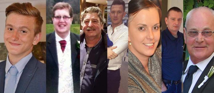 The seven crash victims. Pic: Family handouts/Met Police