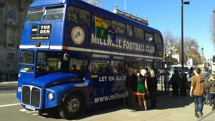Millwall Supporters Bus. Pic; sarflondondunc (flickr)