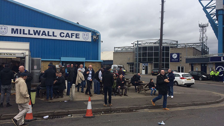 Fans munch away the pre-match jitters outside the cafe