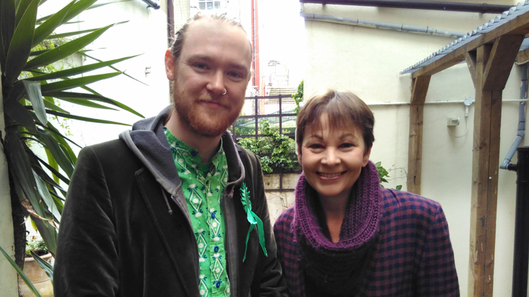 Alastair Binnie-Lubbock with one half of the Green Party leadership, Caroline Lucas. - pic; Alastair Binnie-Lubbock.