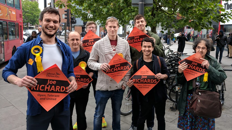 Joe Richards campaigning for the Hackney Liberal Democrats; pic: Hackney Liberal Democrats