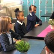 Dianne Abbott visiting Millfields Primary talking Hackney School Street scheme