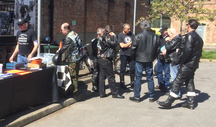 Bikers socialising at the reunion in Hackney.
