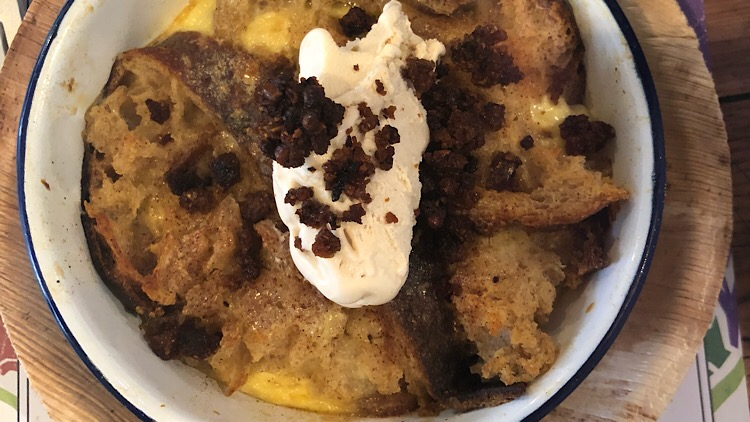 A sweet to finish - banoffee bread and butter pudding with brown bread ice cream.