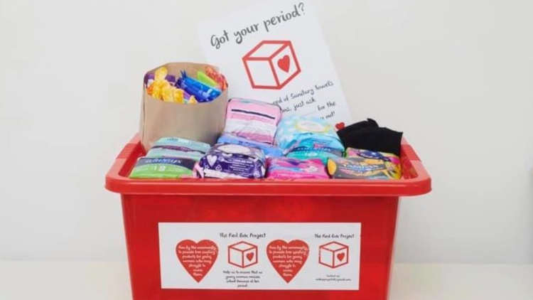 Red box with period products. Pic: The Red Box Project