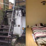 The flat that was rented out and the staircase with missing steps
