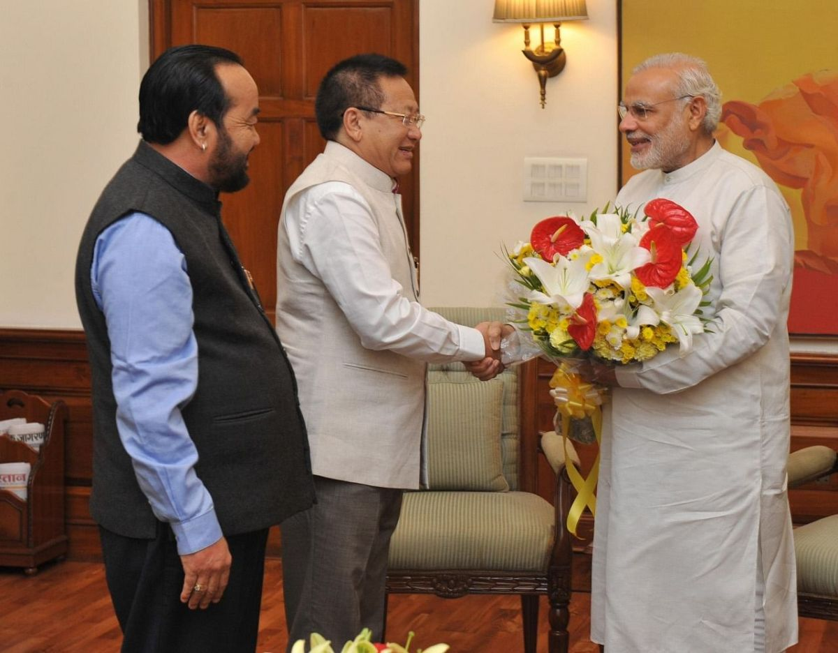 During both his terms as the chief minister of Nagaland, Naga People's Front's TR Zeliang (middle) had Y Patton (left) as his Cabinet colleague; seen in this picture: The duo with Prime Minister Narendra Modi during NPF's first tenure of government in Nagaland