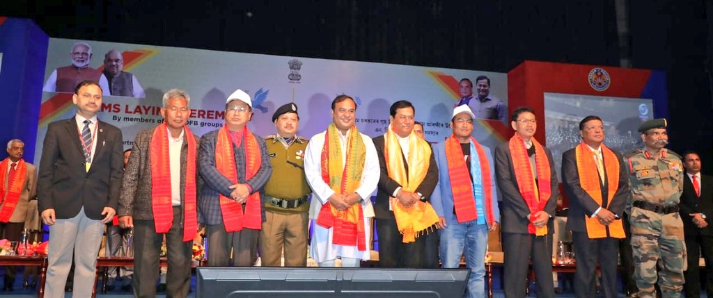 """""""As we embark on a new journey of peace and progress, I welcome to the mainstream all 1615 cadres of NDFB factions who have laid down their arms today. With another 644 cadres from various organisations who also surrendered recently, this will pave the way for a #NewIndia."""" Sarbananda Sonowal on Twitter, January 30, 2020"""