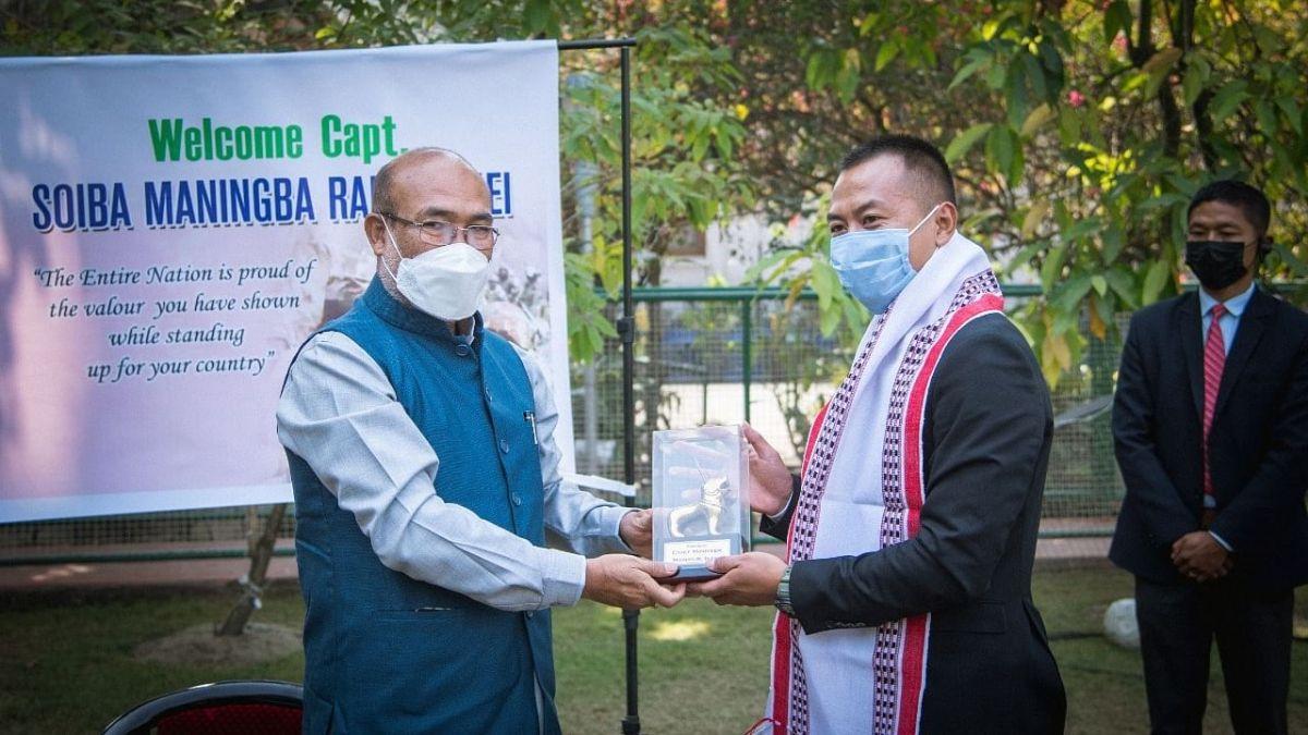 Galwan hero Captain Soiba Maningba Rangnamei being felicitated by CM Biren Singh Tuesday in Imphal
