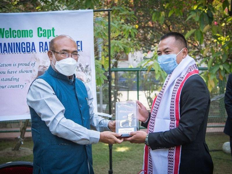 CM Biren Singh felicitated Captain Soiba Maningba Rangnamei on Tuesday in Imphal
