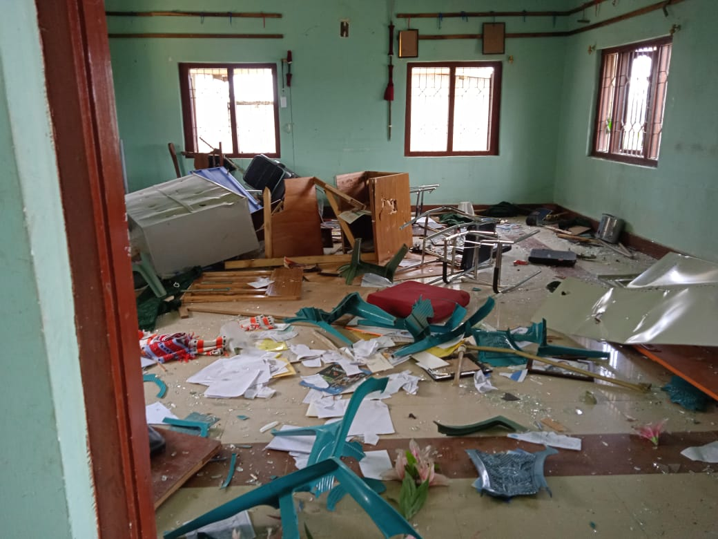 Office of Tangkhul Naga Long vandalised during clashes in Ukhrul