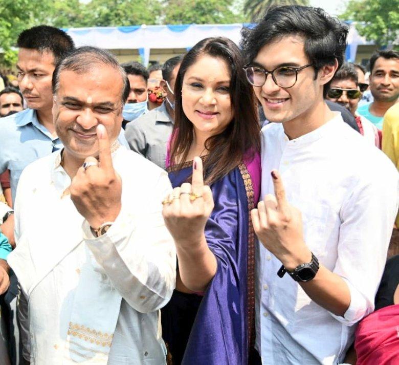Himanta Biswa Sarma, his wife Riniki Bhuyan Sharma and son Nandil Biswa Sharma cast their votes in Amingaon.