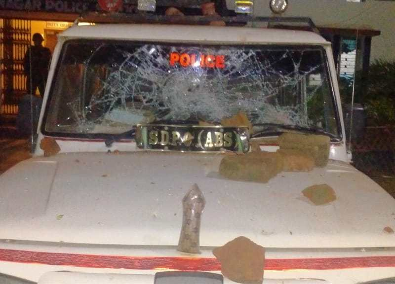 The vehicles of additional superintendent of police, sub-divisional police officer and other officers were vandalized by an angry mob inside the police station complex